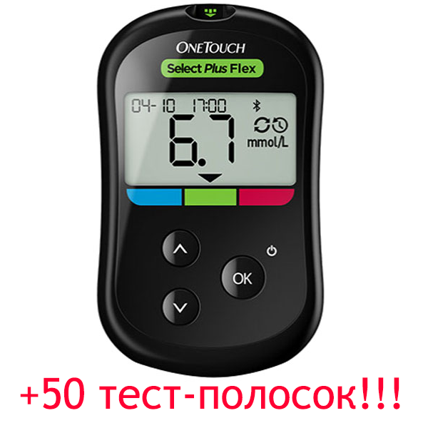 Глюкометр Ван Тач Селект Плюс Флекс (OneTouch Select Plus Flex) + 50 тест-полосок